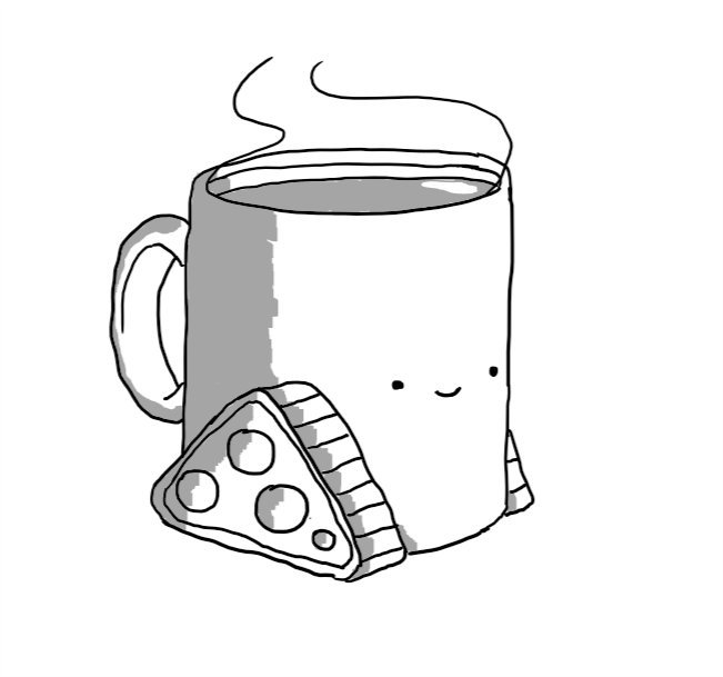 A steaming mug of tea with little tracks on the bottom and a smiling face on the front.
