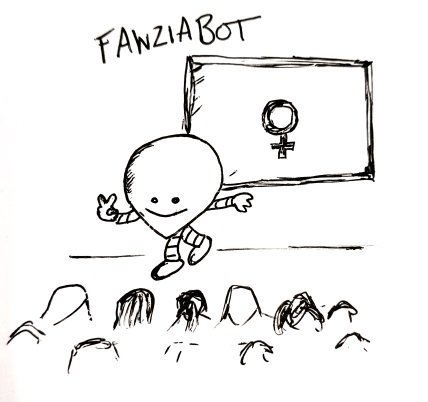 A round robot with a pointy bottom stands on stage giving a lecture, the board has the symbol for 'female' on.