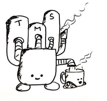 A large rectangular robot with three cylinders plumbed into it's back (labelled 'T', 'M' and 'S'), a little chimney/vent and an outlet which is pouring a lovely cuppa into Teabot