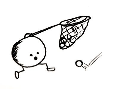 a little ball with legs and a net part full of peas attached to it's top. It looks shocked it appears to have missed a pee that is bouncing into shot