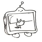 A robot that is effectively a television with feet and a little smiling face.