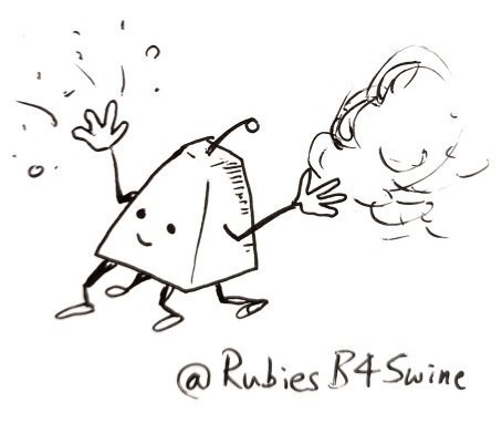 A flat topped pyramid with 4 legs and a smile, throws sparks and smoke into the air from it's hands