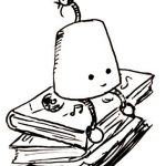 A happy little cone with legs sits on a pile of music books.