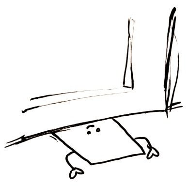 A flat rectangle is sliding underneath a door