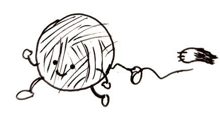 A happy little ball of string, with arms and legs and a happy little face, runs away from a reaching paw