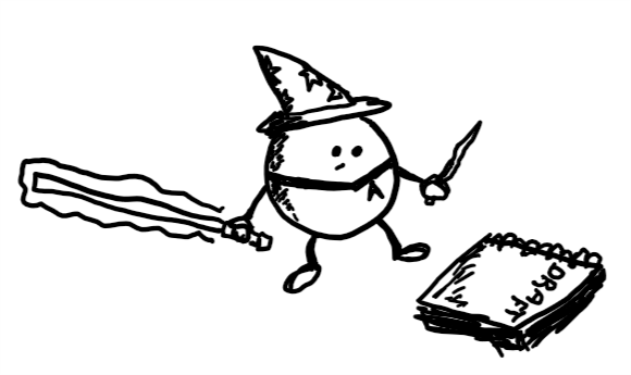 A little round robot wearing a pointy hat holding a wand in one hand and a laser sword in the other looks thoughtfully at a manuscript