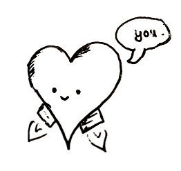 A smiling heart with little rocket boosters to fly. A speech bubble says 'you'.