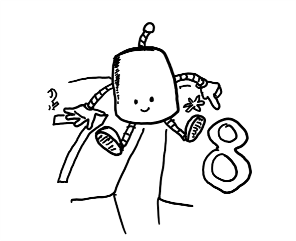 A little robot sits on a calendar pointing at the right date