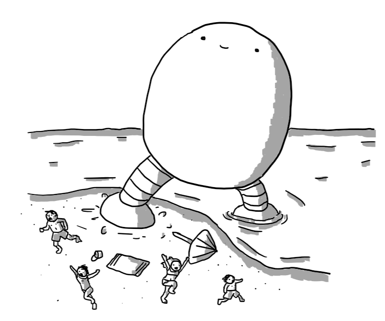 An enormous, egg-shaped robot with no arms and a happy, gormless expression on its face, wading from the sea onto a beach, sending a family of holidaymakers running in terror as it stomps into their camp, scattering a parasol and a bucket.