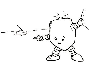 A robot with a flashing light on top urgently tugs at a sleeve and points to a dog.