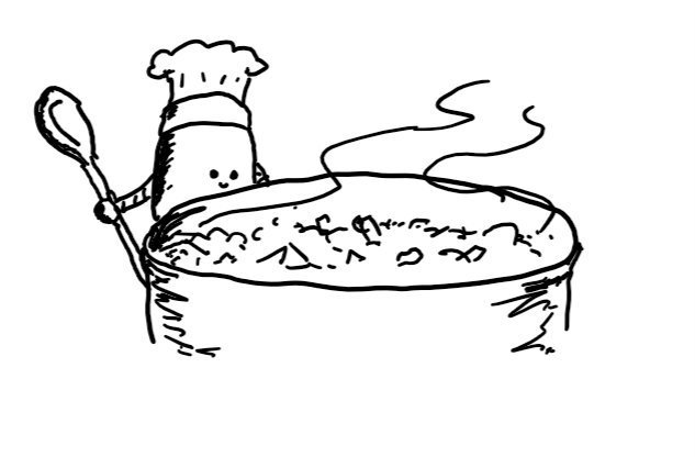 A little robot with a spoon in one hand and a chef's hat watches a large pan of stew bubbling away