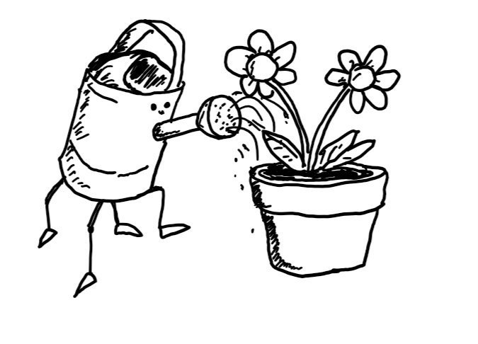 A four-legged robot shaped like a watering can, watering a pot containing two flowers. It wears a contented expression.