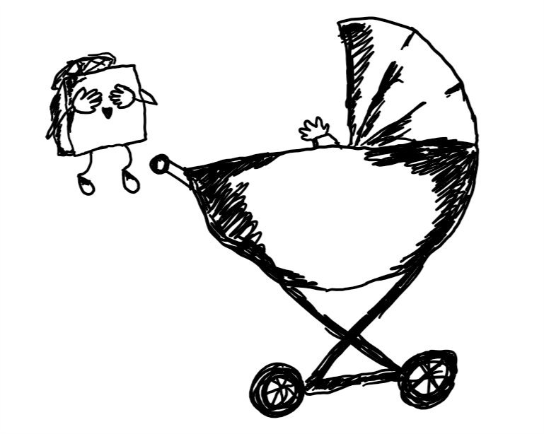 a cubic robot with a propeler on top and thin, flexible limbs, covers its eyes with its hands to entertain a baby represented by a chubby hand emerging from an old-fashioned pram. the robot looks very happy.
