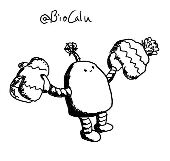 a small robot shaped like a squat cylinder with a rounded top holds out a pair of knitted, patterned mittens in one hand and a matching bobble hat in the other. the robot has a little smiling face high up on its body and a little antenna with a stylised snowflake on the end