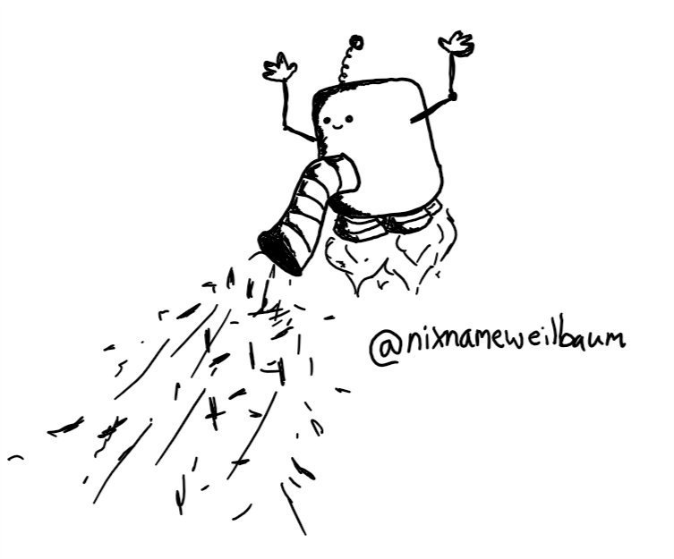 a robot shaped like a rounded, slightly-elongated cube with four little rocket boosters on its underside floats in the air. it has a wide, banded nozzle set into the middle of its body which is sucking up hair and dust. its face is small and set just above the nozzle, looking happy. it has thin, jointed arms with little hands waving in the air and an antenna like a spring with a bobble on the end.