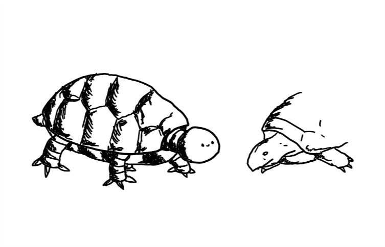 a robot resembling a tortoise, complete with metallic shell and little banded robot legs. its head is spherical and has a tiny smiley face. an actual tortoise is sitting just by it, looking somewhat unconvinced.