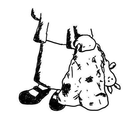 a child pictured from the waist down holds a heavily soiled blanket in one chubby fist. one end of the blanket is a little smiling robot head with bunny ears held upside-down.