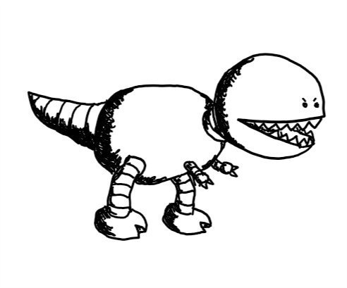 a robot that looks like a tyrannosaurus-rex, with a big round head with a chomping, fang-filled mouth and little angry eyes