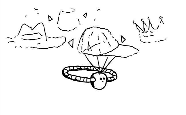 a small round robot wearing a neutral expression. it has no limbs but instead a banded ring extends from where its arms would be so it takes the form of a diadem. it has a small projector on its head which is emitting a hazy image of a baseball cap. arrows hover beside this indicating menu navigation, and some other hats on offer are visible: a stetson, a fez and a crown.