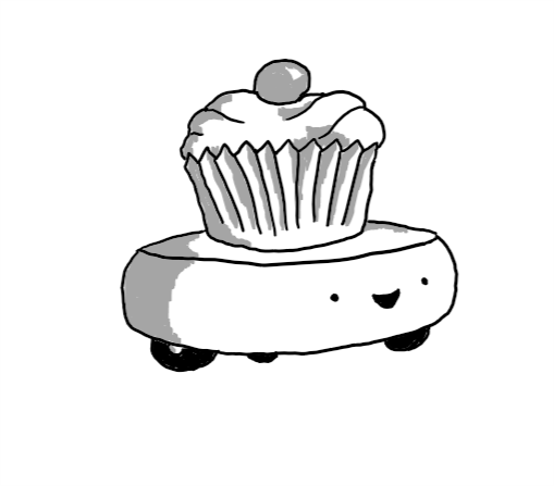 A robot shaped like a fat, slightly round-edged disc, with three little wheels on the bottom set in a triangle. It has a cupcake with a cherry on top set on its flat upper surface, and a very happy expression on its face, which is on one of its edges.