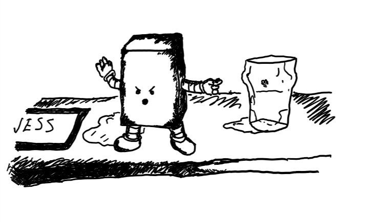 a cuboid robot with banded arms and legs stands on the top of a grubby bar holding up one hand and pointing with the other. its expression is annoyed with its mouth open mid-shout.