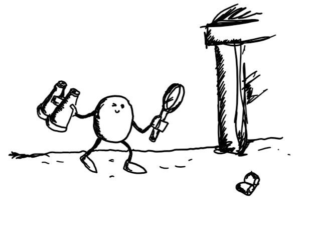 a small round robot with thin arms and legs carrying a magnifying glass and binoculars while searching a carpeted floor with a chair in the background. it is squinting at a butterfly from the back of an earring a short distance away.