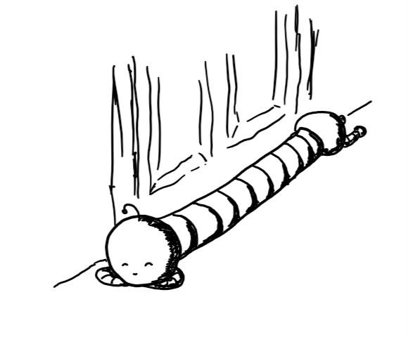 a robot consisting of a spherical front section with a little sleeping face and a drooping antenna, resting peacefully on its folded arms, connected to a long, banded body with another spherical section at the end that has little splayed legs attached. the robot is lying in front of a door, like a draft excluder