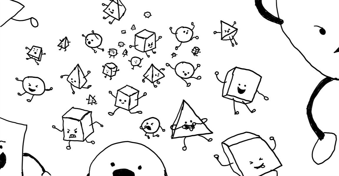 many, many small robots, shaped like cubes, spheres or pyramids, with little arms and legs waving in all directions. some are smiling, some laughing or shouting, a few angry and they're all leaping towards the frame, some very close indeed so only parts of them are visible.