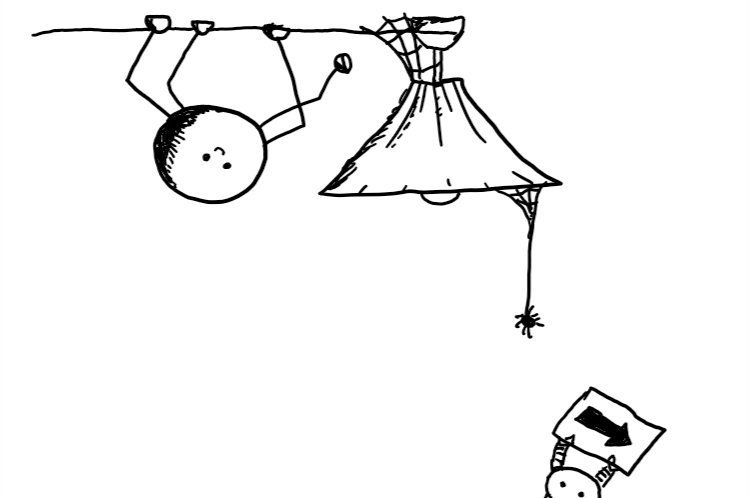 a spherical bot with four jointed, spindly legs hanging upside-down from a ceiling and smiling cheerfully. it approaches a ceiling lamp with a cobweb stuck to the shade which one of its feet is reaching towards. a spider hangs from the opposite side of the lamp and Spiderbot is just visible at the bottom of the frame directing it away with an arrow on a sign.