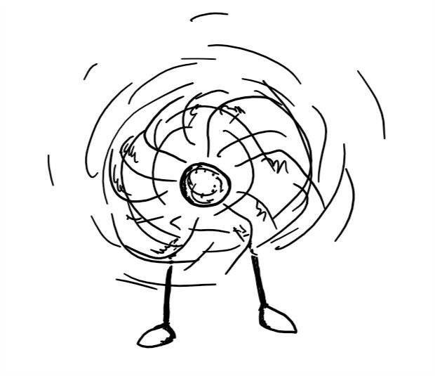 a robot on two thin legs whose head is at the centre of a large, motorised fan. it's spinning rapidly around and its face is blurred by the motion.