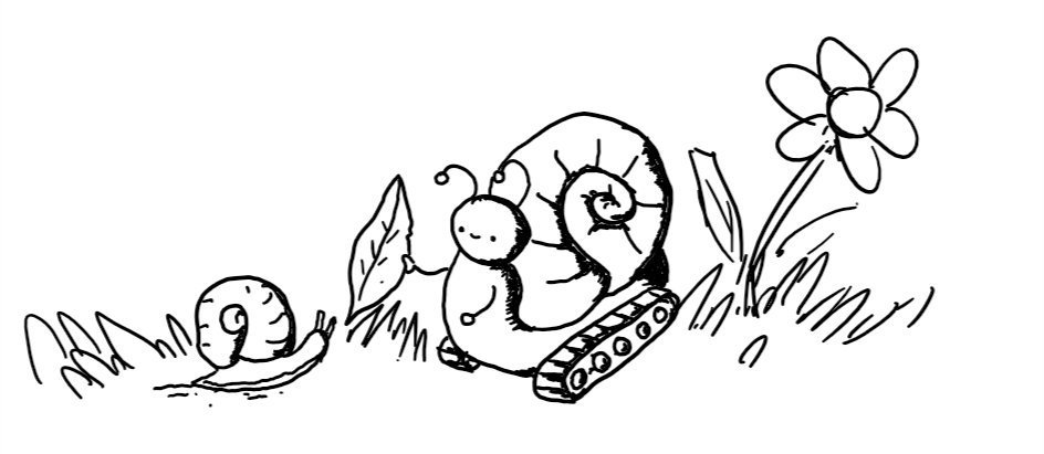 a little robot that looks like a snail, but with tiny arms and little caterpillar tracks, is smiling as it hands a leaf to an actual snail, while a flower stands unmolested in the background.