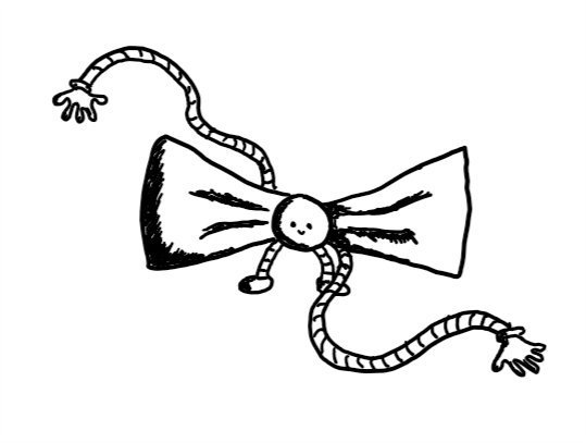 a robot shaped like a bow-tie, with its head as the knot in the centre. it has little banded legs and long, flexible banded arms that are waggling around on either side.
