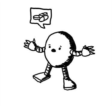 a round robot holding its arms out with a worried expression on its face. it has a speech bubble showing a picture of several tablets and capsules.