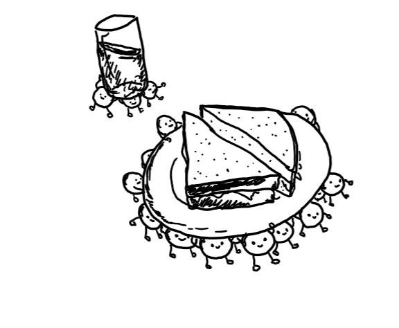 many small round robots are carrying a plate with a sandwich cut into triangles on it, while behind them more robots are manoeuvring a teetering, mostly full glass between them.