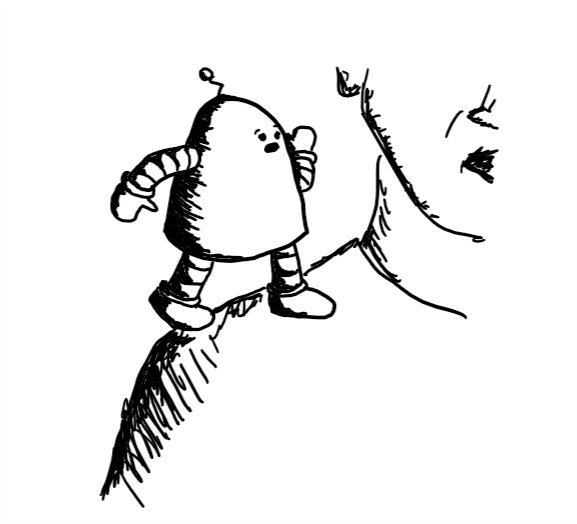 a rounded robot standing on someone's shoulder with one hand held to their mouth as if imparting a secret and a concerned expression on its face