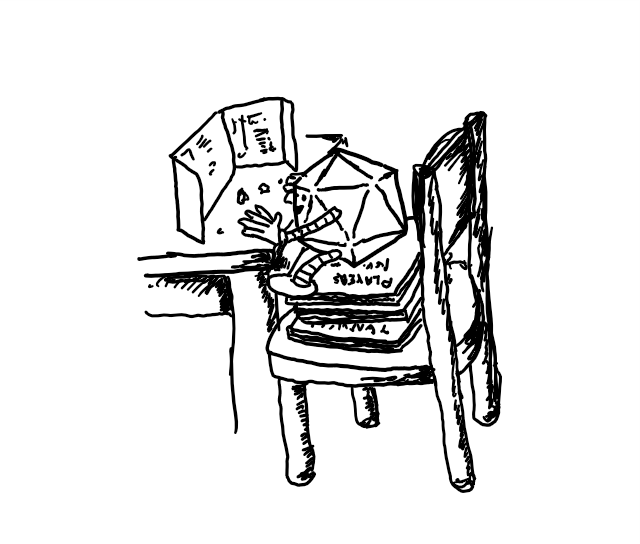 a robot shaped like a 20-sided dice, sitting at a table with a folded screen in front of it and some dice near its hands. the robot is propped up on its chair by a stack of D&D rulebooks.