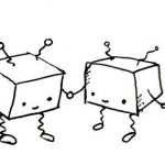 Two small cuboid robots hold hands and smile.