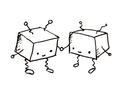Two small square robots hold hands and smile.
