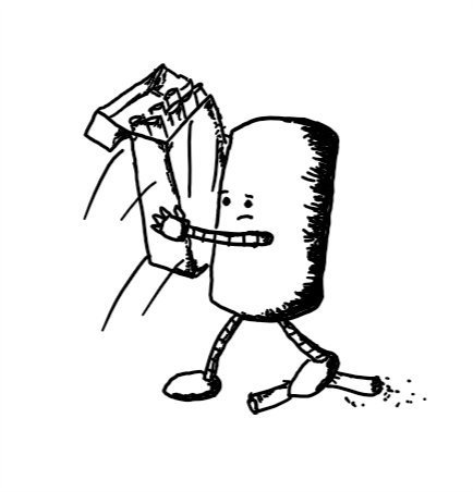 a cylindrical robot with a concerned expression snatching away a pack of cigarettes while stamping another one out with its foot.