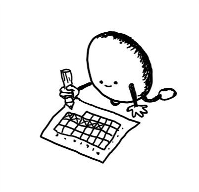 an egg-shaped robot kneeling over a calendar and thoughtfully marking off days with a pencil.