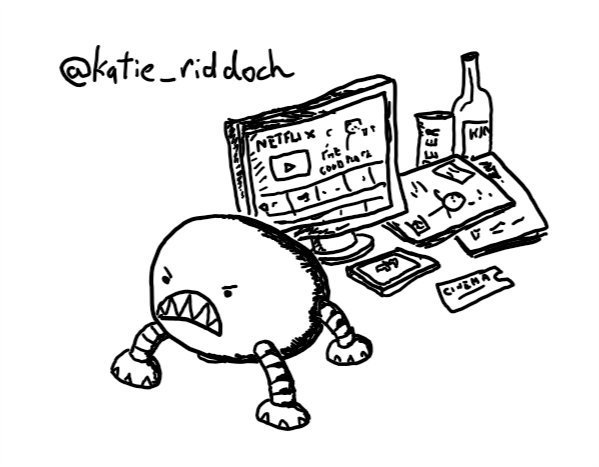 a little ovoid robot with four legs and a really angry face complete with big sharp teeth, standing in front of a mobile phone, a cinema ticket, a screen showing Netflix, several magazines, a can of beer and a bottle of wine.