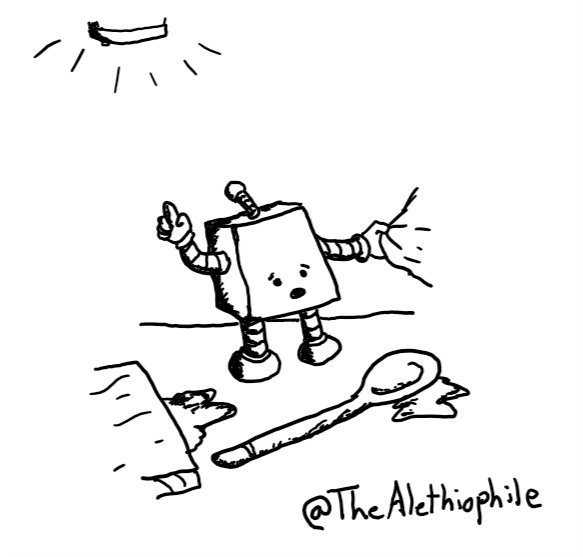 a cube-shaped bot standing on a messy kitchen counter strewn with a chopping board and wooden spoon, tugging at someone's sleeve while pointing up at a blaring smoke alarm with a worried expression.