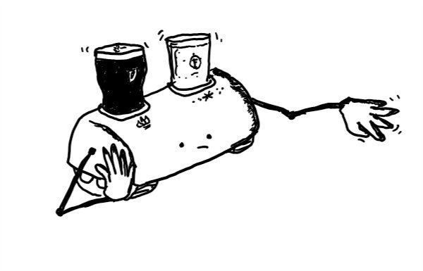 a long robot with caterpillar tracks and long, jointed arms. it has two receptacles, one marked with a flame symbol and one with a frost symbol - a pint of Guinness is in the hot one and lager in the cold one. the robot looks very bored and is resting on one hand while the fingers of the others tap restlessly.