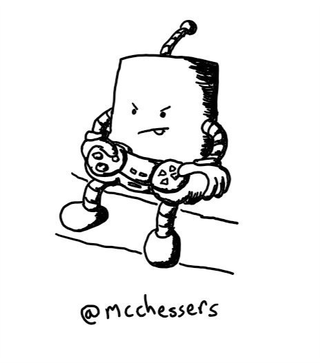 a cylindrical robot with banded arms and legs sits on the edge of a sofa wielding a control pad with a look of intense concentration