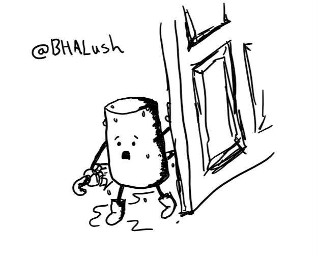 a cylindrical robot wearing little boots and carry an umbrella pushing open a door. it has an alarmed expression on its face and is covered in raindrops. a large puddle is forming at its feet.