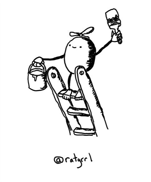 a round robot standing cheerfully on top of a ladder with a paintbrush and pot. its feet have gripping toes to hold it to its rung and a currently inactive propeller is on its top
