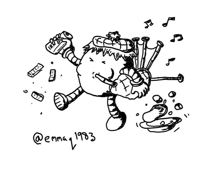 a round robot playing a set of bagpipes, wearing a tartan hat with a wig, carrying a can of Irn Bru as it stomps around, kicking up pieces of shortbread and displacing a bowl containing haggis and tatties and neeps.