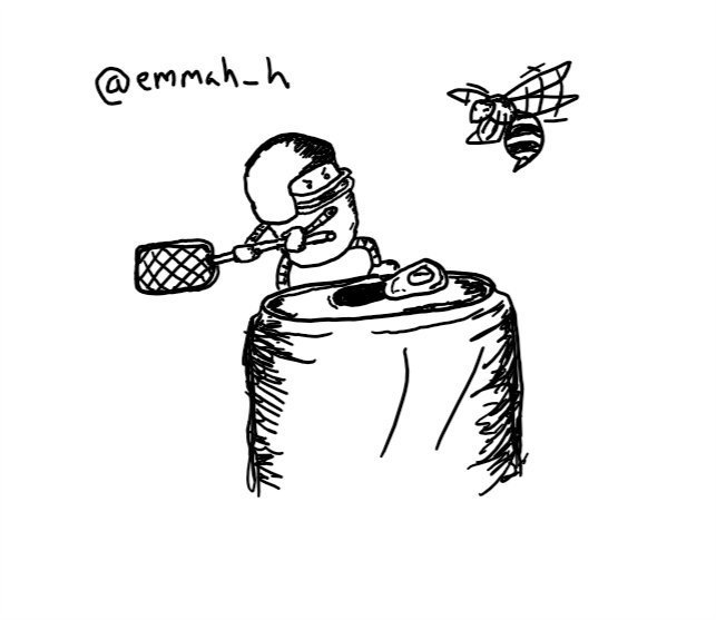 a small, pill-shaped robot stands heroically on the lip of an open drinks can, fearlessly weilding a swatter while wearing a protective helmet with face-guard. it glares balefully at a hovering wasp nearby.