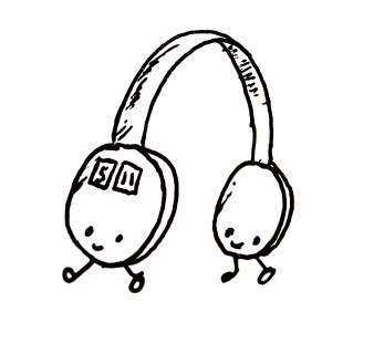 A pair of headphones, each with its own little smiling face and feet.