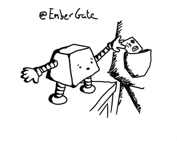 a trapezoid robot with a worried expression, standing on an end table and reaching up to place a railcard in the coat pocket of a passing person.